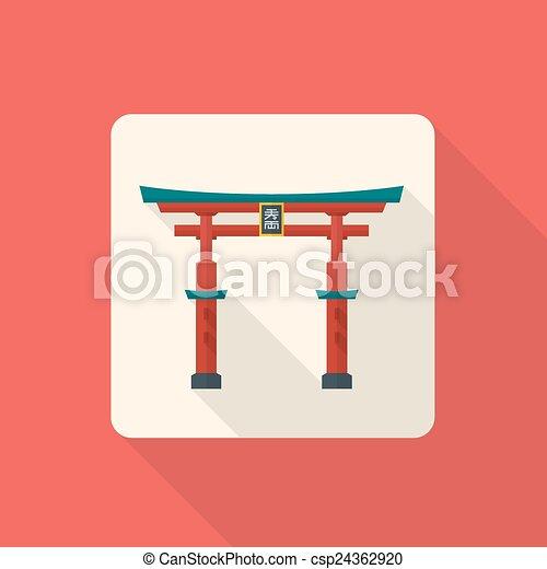 Vector diseño plano diseño plano tradicional de Japón puerta torii icono con sombra - csp24362920