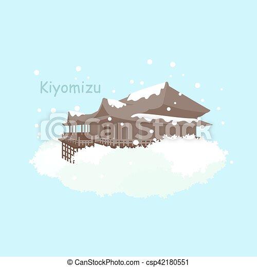 Japón nieve kiyomizu en invierno - csp42180551