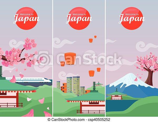 Pancarta de viaje de Japón. Puntos de referencia japoneses - csp40505252