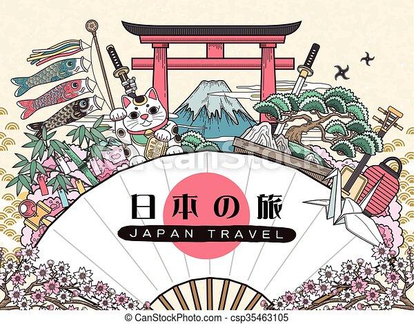 Hermoso poster de viajes de Japón - csp35463105