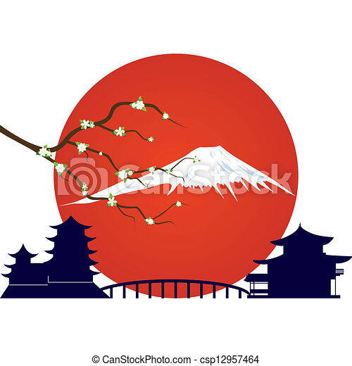 Apple Tree Branch Japanese Architecture And The Mountain Clip