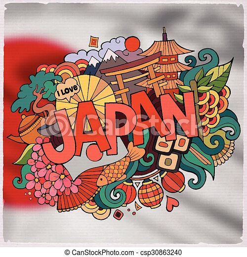 Japan country hand lettering and doodles elements and ...
