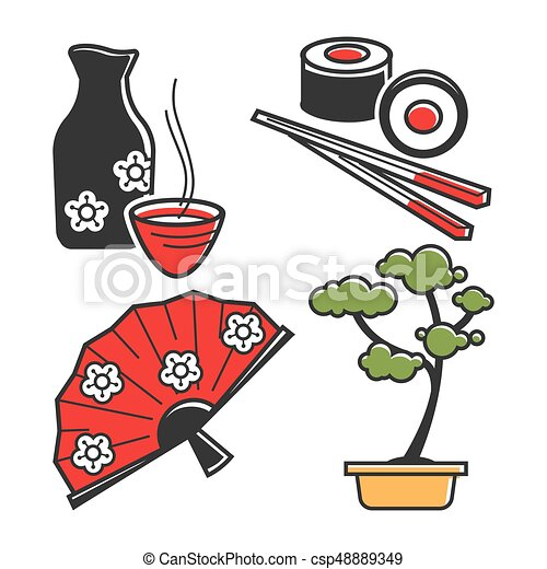 Japan Culture Symbols For Travel And Famous Landmarks Vector Icons