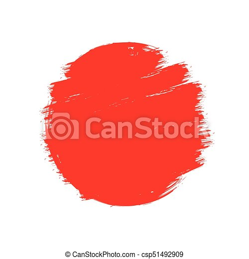 Japan Flag Asian Style Red Grunge Sun Symbol Isolated On White