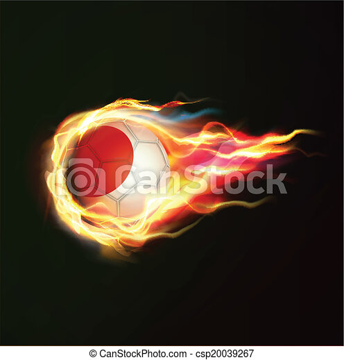 Japan flag with flying soccer ball on fire isolated black background, vector illustration - csp20039267