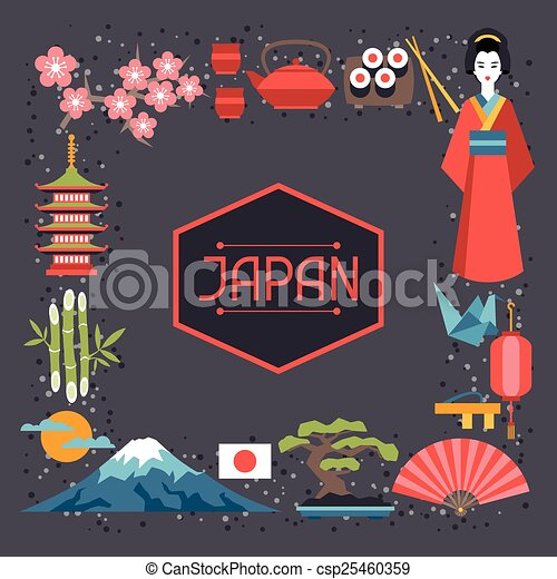 Japan frame design. illustration on japanese theme.