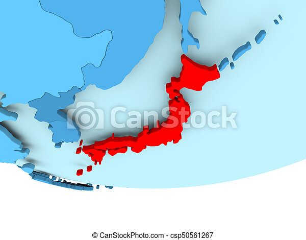 Japan in red on blue map illustration of japan highlighted in red japan in red on blue map csp50561267 gumiabroncs Gallery