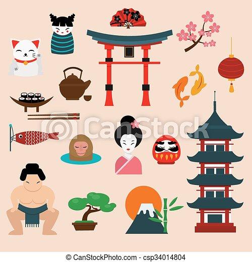 Japan Landmark Travel Vector Icons Elements Csp34014804