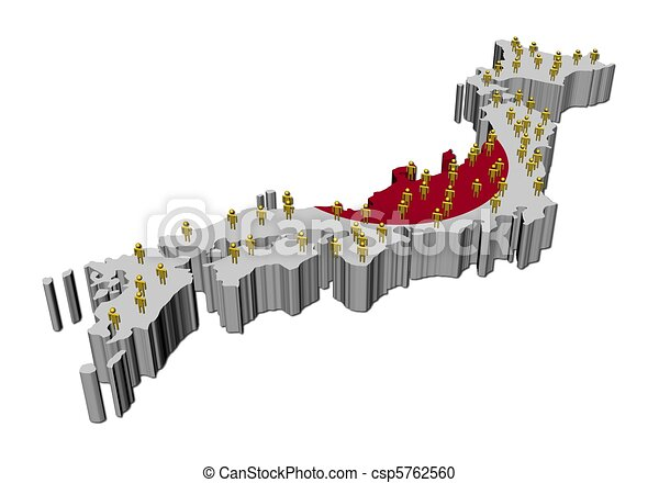 Stock Illustration Of Japan Map Flag With Many People Japan Map - Japan map flag