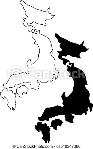 Clip Art Vector Of Japan Map Vector Illustration Scribble Sketch - Japan map vector art