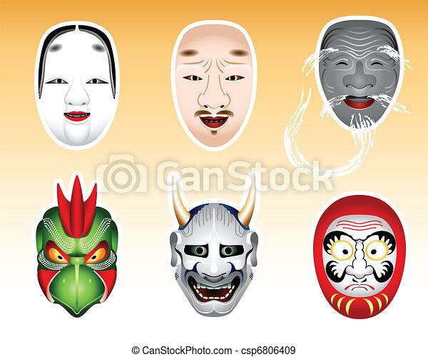 Japan Noh and Kyogen masks | Set 2 - csp6806409