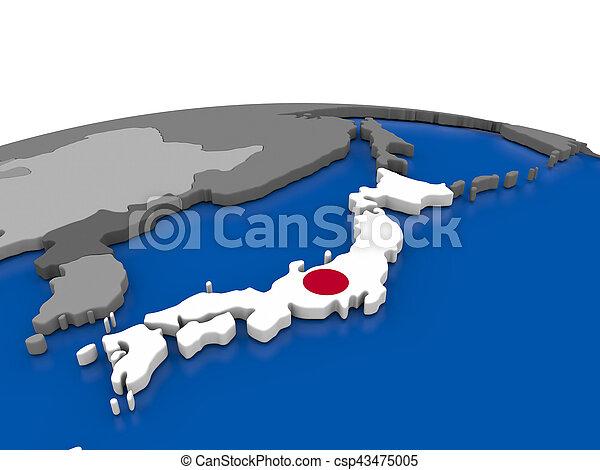 Japan on 3D globe - csp43475005