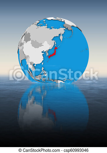 Japan on globe in water - csp60993046