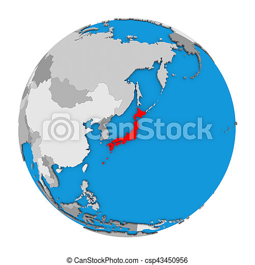 Japan Map Of The World.Japan On Globe Map Of Japan Highlighted In Red On Globe 3d
