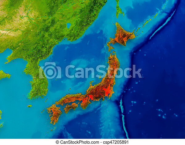 Japan on physical map - csp47205891