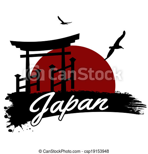 japan poster japan in vitage style poster  vector Mountain Silhouette Mountain Silhouette