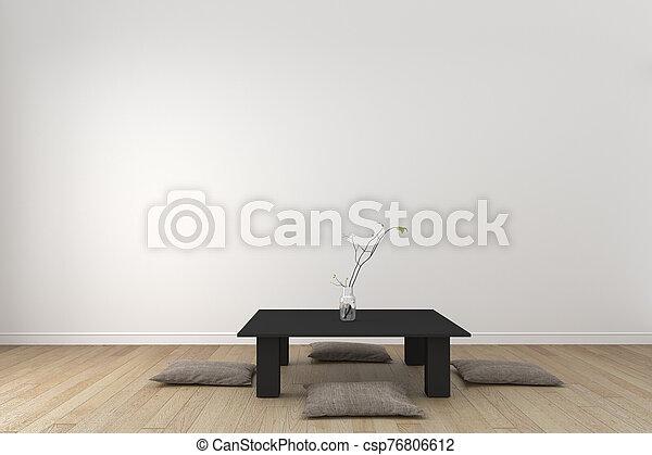 Japan room interior - Japanese style. 3D rendering - csp76806612