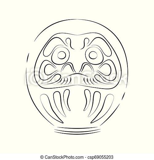 Japan shinto ceremony daruma doll vector illustration simplified travel  icon  Ritual talisman  Buddha shrine  Chinese, asian traditional symbol   Line