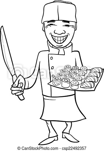 Japan Sushi Chef Cartoon Coloring Page 22492357