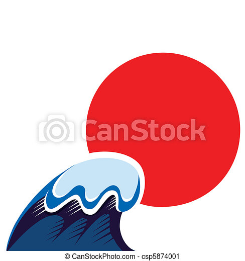 Japan symbol of sun and tsunami wawe isolated on white