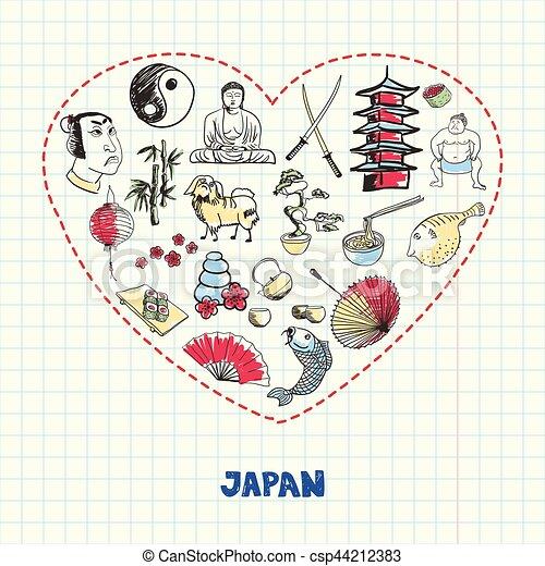 Japan Symbols Pen Drawn Doodles Vector Collection Love Japan