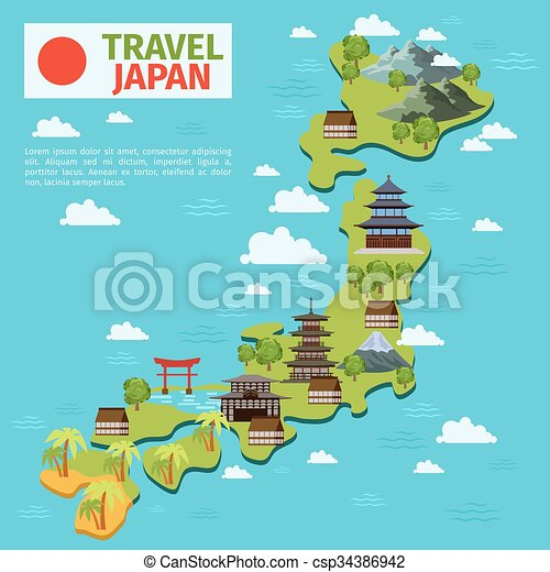 Japan Travel Vector Map With Traditional Japanese Landmarks - Japan map cartoon