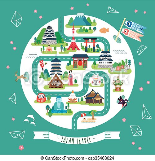 Japan Walking Map Lovely Japan Walking Map With Famous Vector - Japan map vector art