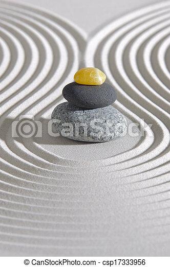 Japan zen garden with stones - csp17333956