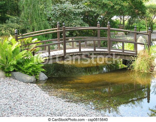 Japaneese garden with small bridge - csp0815640