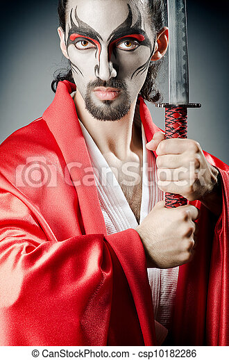 Japanese actor with sword - csp10182286