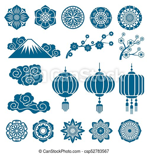 Japanese And Chinese Asian Motif Vector Decor Pattern Elements Impressive Asian Patterns