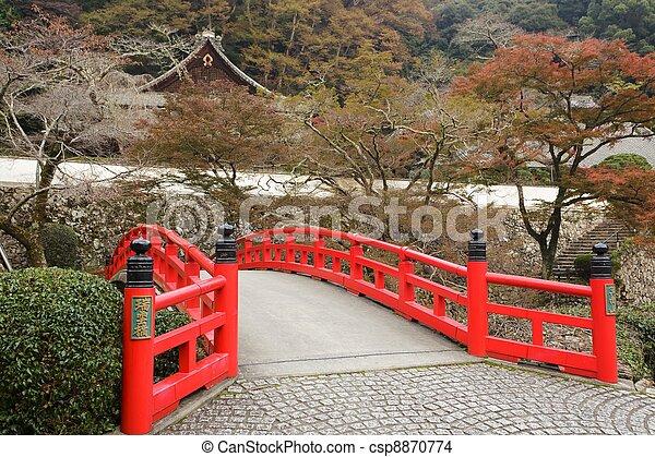 japanese bridge and temple - csp8870774