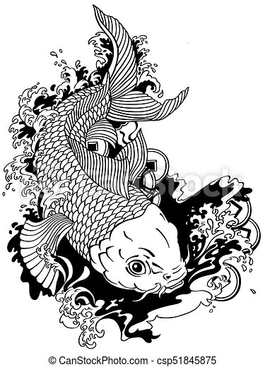 Japanese carp koi black white csp51845875