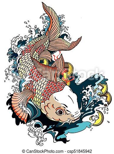 Japanese carp koi japanese carp koi gold fish swimming in for Carpa koi butterfly