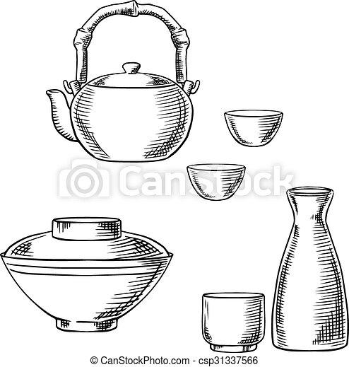 Japanese ceramic tableware sketch icons - csp31337566  sc 1 st  Can Stock Photo & Japanese ceramic tableware sketch icons. Japanese tableware... clip ...