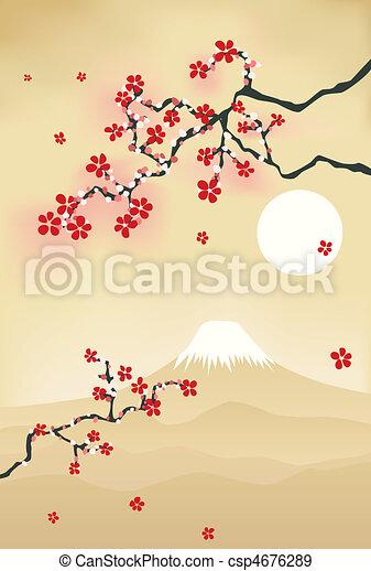 Japanese cherry blossom postcard - csp4676289