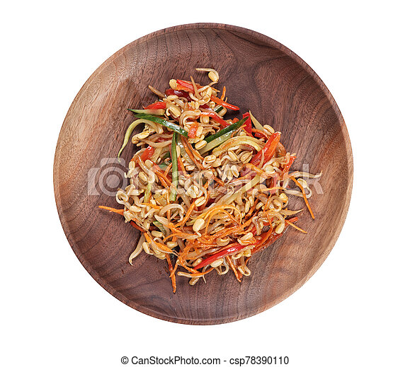 Japanese cooking. Vegetable salad on a plate top view - csp78390110