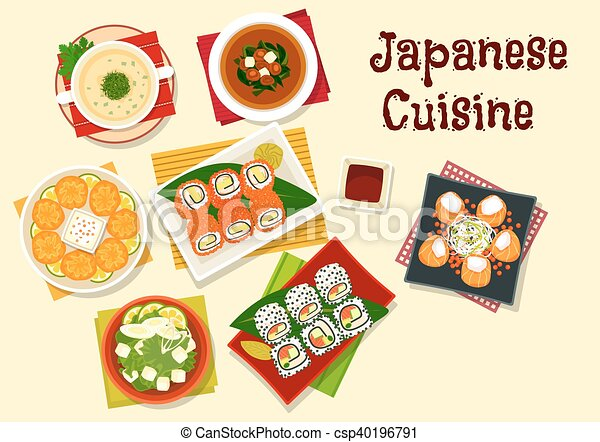 Japanese Cuisine Sushi And Soups For Dinner Menu Japanese Cuisine