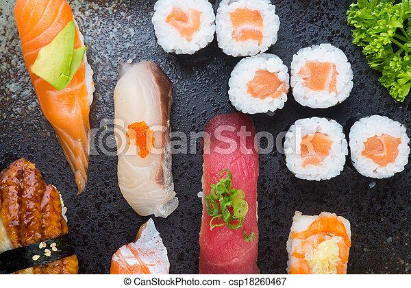 japanese cuisine. sushi set on the background - csp18260467