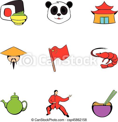Japanese Culture Icons Set Cartoon Style