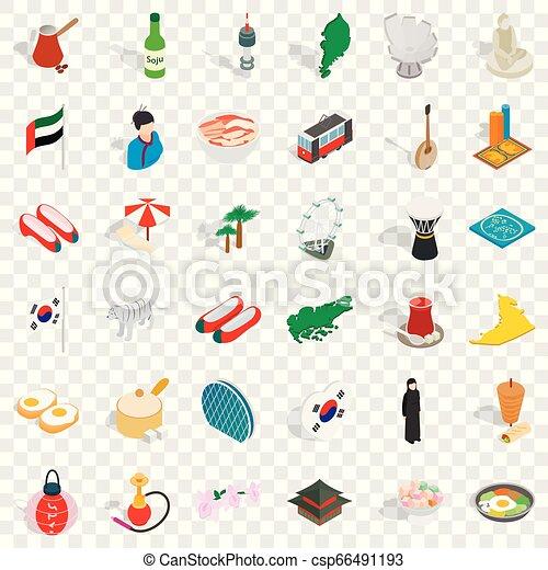 Japanese culture icons set, isometric style - csp66491193