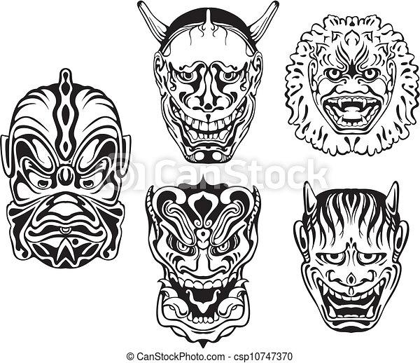 Japanese Demonic Noh Theatrical Masks - csp10747370