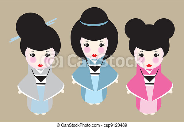 Cute Japanese Dolls With Different Hairstyles Eps Vectors