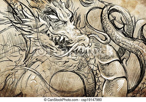 Line Art Dragon : Japanese dragon head tattoo sketch handmade design over