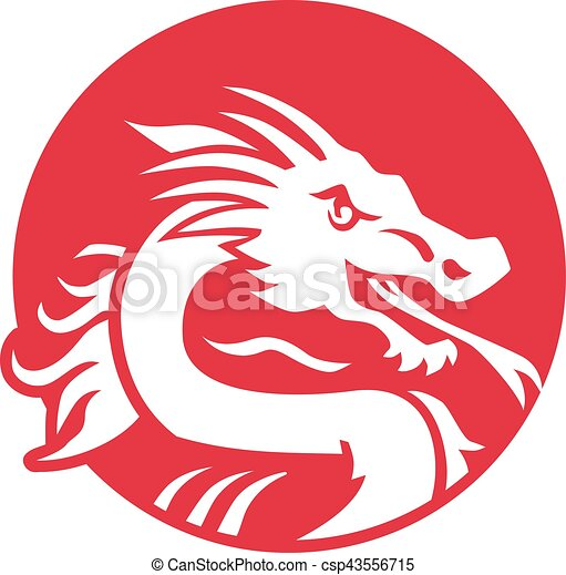Japanese Dragon In Red Circle Vector Clip Art Search Illustration