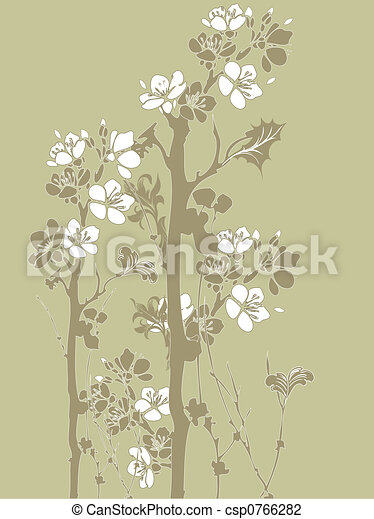 Japanese Flowers Illustration Of Style Clip