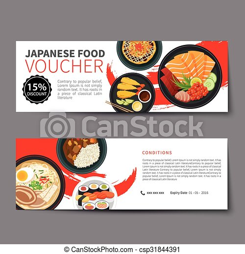 Japanese Food Voucher Discount Template Flat Design Eps Vectors