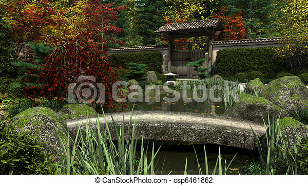 japanese garden and koi pond autum csp6461862