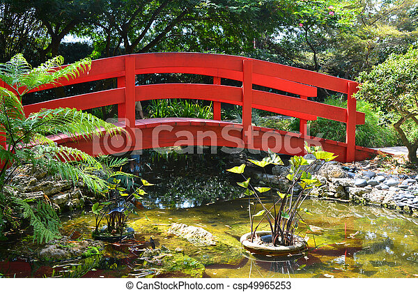 japanese garden bridge csp49965253 - Red Japanese Garden Bridge