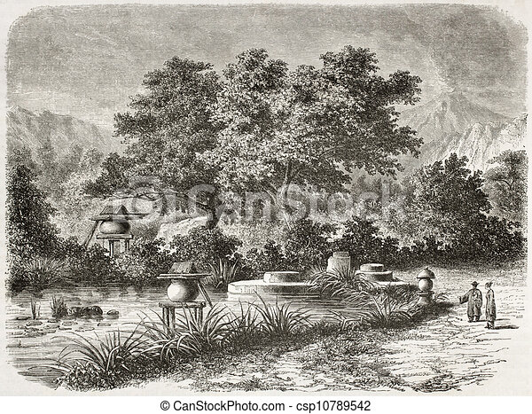 Japanese garden old illustration. created by de barafter ...